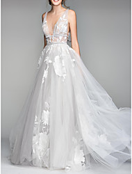 cheap -A-Line V Neck Floor Length Tulle Sleeveless Casual Plus Size Wedding Dresses with Draping 2020