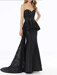 cheap -Mermaid / Trumpet Sweetheart Neckline Sweep / Brush Train Satin Peplum / Black Party Wear / Formal Evening Dress with Sequin / Overskirt / Appliques 2020