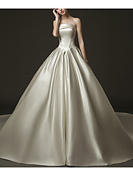 cheap -A-Line Strapless Sweep / Brush Train Satin Sleeveless Formal / Beach Wedding Dresses with Draping 2020