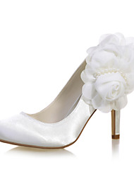 cheap -Women's Wedding Shoes Stiletto Heel Round Toe Imitation Pearl / Satin Flower Satin Sweet Fall / Spring & Summer White / Purple / Champagne / Party & Evening