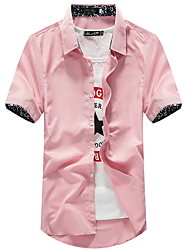 cheap -Men's Solid Colored Shirt Daily Classic Collar Wine / White / Black / Blue / Blushing Pink / Short Sleeve