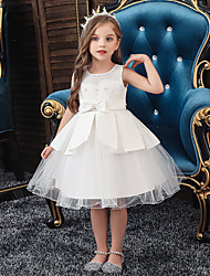 cheap -A-Line Knee Length Wedding / Party Communion Dresses - Tulle / Matte Satin / Poly&Cotton Blend Sleeveless Jewel Neck with Lace / Bow(s) / Beading