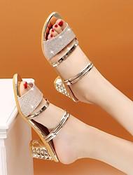 cheap -Women's Sandals Summer Block Heel Open Toe Daily PU Black / Gold / Silver