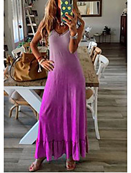 cheap -Women's Maxi Purple Light Blue Dress T Shirt Rainbow V Neck S M
