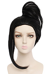 cheap -Synthetic Wig MOMO Straight Halloween Asymmetrical Wig Medium Length Natural Black Synthetic Hair 20 inch Women's Best Quality Black