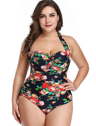 cheap -Women's Beach Girl Vintage 1980s Bikini Peplum Swimsuit Monokini Spandex Tactel Flower Black Blushing Pink Leotard / Onesie
