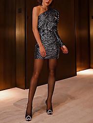 cheap -Women's Mini Silver Dress Sheath Geometric One Shoulder S M