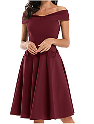 cheap -Women's Sheath Dress - Solid Color Wine Green S M L XL