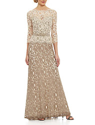 cheap -A-Line Mother of the Bride Dress Elegant Bateau Neck Floor Length Polyester 3/4 Length Sleeve with Sash / Ribbon Embroidery 2021