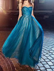 cheap -A-Line Elegant Blue Engagement Prom Dress Sweetheart Neckline Sleeveless Floor Length Tulle with Ruched 2020