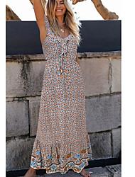 cheap -Women's A Line Dress - Print Maxi Black White Red S M L XL