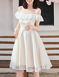 cheap -A-Line Off Shoulder Knee Length Chiffon Bridesmaid Dress with Tier