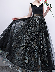 cheap -A-Line V Neck Floor Length Polyester Floral / Black Prom / Formal Evening Dress with Pattern / Print / Sash / Ribbon 2020