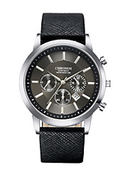 cheap -Men's Dress Watch Quartz Formal Style Stylish Casual Water Resistant / Waterproof Analog Black Blue Coffee / Two Years / Stainless Steel / Leather / Calendar / date / day / Two Years