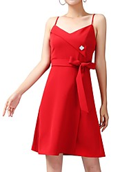 cheap -A-Line Straps Short / Mini Polyester Bridesmaid Dress with Sash / Ribbon / Bow(s) / Crystals