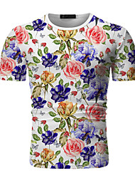 cheap -Men's Going out Work Chinoiserie / Elegant T-shirt - Floral / Color Block / Tribal Print Black