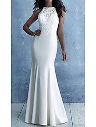 cheap -Mermaid / Trumpet Wedding Dresses Halter Neck Court Train Lace Satin Cap Sleeve Country with Embroidery 2020