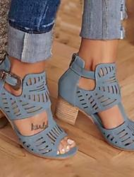 cheap -Women's Sandals Chunky Heel Peep Toe PU Summer Red / Khaki / Blue