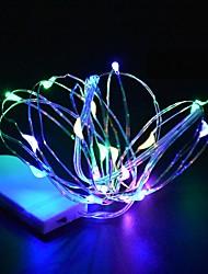 Недорогие -Мини светодиодный свет шнура 3 м серебряный провод фея огни для гирлянды дома рождественская свадьба украшение работает от батареи cr2032