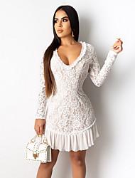 cheap -Women's Sheath Dress - Solid Color White S M L XL