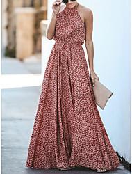 cheap -Women's Maxi Red Dress Boho Maxi Dress Spring Vacation Beach A Line Floral Halter Neck S M