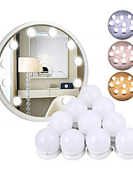 cheap -1pcs Dimmable Tri-colors Wall Lamp LED Makeup Mirror Vanity 10Led Light Bulbs Hollywood Style Led Lamp Touch Switch USB Cosmetic Lighted Dressing table
