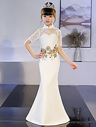 cheap -Mermaid / Trumpet Court Train Wedding / Party Pageant Dresses - POLY Half Sleeve High Neck with Lace
