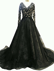 cheap -A-Line V Neck Sweep / Brush Train Polyester Long Sleeve Formal Plus Size / Black Wedding Dresses with Draping / Split Front 2020