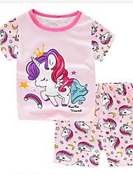 cheap -Kids Girls' Basic Cartoon Short Sleeve Clothing Set Blushing Pink