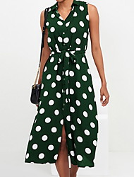 cheap -Women's A Line Dress - Polka Dot Brown Green Navy Blue S M L XL