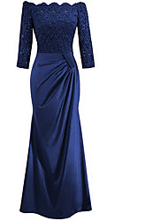 cheap -Women's Maxi Royal Blue Black Dress Sheath Solid Color Off Shoulder S M