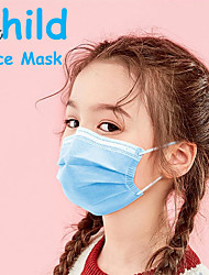 cheap -50 pcs Face Mask Disposable Protection Anti Dustproof Nonwoven Fabric High Quality Girls' Kids Blue