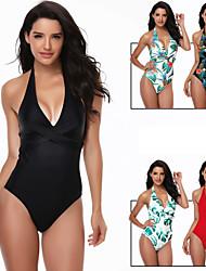 cheap -Women's Beach Girl Vintage 1980s Bikini Peplum Swimsuit Monokini Spandex Tactel Printing Black Light Green Leotard / Onesie