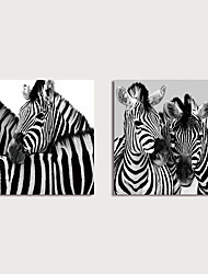 cheap -Print Canvas Painting Black-White Zebras set of 2 pcs Modern Art Prints Stretched