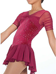 cheap -Figure Skating Dress Women's Girls' Ice Skating Dress Red Spandex High Elasticity Competition Skating Wear Patchwork Crystal / Rhinestone Short Sleeve Ice Skating Figure Skating / Kids