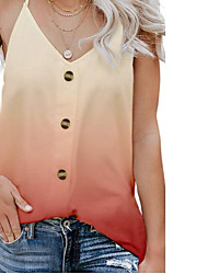 cheap -Women's Solid Colored Blouse Daily Going out V Neck Blue / Fuchsia / Green / Gray