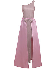 cheap -Women's Date Festival Elegant Maxi Slim Swing Dress - Solid Colored Butterfly, Bow One Shoulder Black Blushing Pink S M L XL Belt Not Included