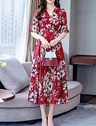 cheap -Women's Red Blue Dress A Line Geometric V Neck M L