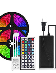 cheap -2x5M Flexible LED Light Strips Light Sets RGB Tiktok Lights 600 LEDs SMD2835 8mm 1 12V 6A Adapter 1 44Keys Remote Controller 1 set Multi Color Party Decorative Self-adhesive 12 V