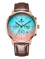 cheap -Men's Sport Watch Quartz Genuine Leather 30 m Calendar / date / day Chronograph Day Date Analog Fashion Cool - Golden / Brown Black+Gloden Blue One Year Battery Life