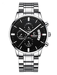cheap -Men's Dress Watch Quartz Stainless Steel Black / Silver 30 m Water Resistant / Waterproof Calendar / date / day Chronograph Analog Casual Fashion - Black Black / Silver Blue One Year Battery Life