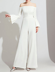 cheap -Jumpsuits Wedding Dresses Off Shoulder Floor Length Polyester Long Sleeve Formal Simple with Side-Draped 2020