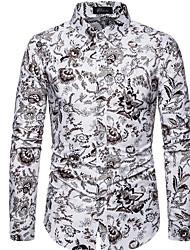 cheap -Men's Plus Size Geometric Slim Shirt Daily White / Black / Blue / Yellow / Gray / Long Sleeve