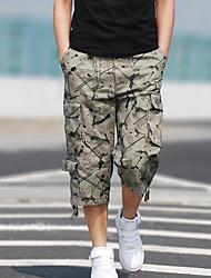 cheap -Bermuda Men's Basic Shorts Pants - Geometric Pattern Army Green Light Green Beige US32 / UK32 / EU40 US34 / UK34 / EU42 US36 / UK36 / EU44