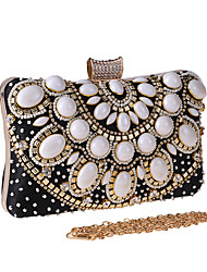 cheap -Women's Bags Polyester Evening Bag Crystals Chain Color Block Floral Print Wedding Bags Wedding Party Event / Party Black Almond