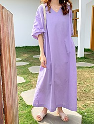 cheap -Women's Loose Dress - Solid Color Maxi Purple One-Size