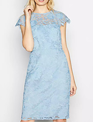 cheap -Sheath / Column Hot Blue Holiday Cocktail Party Dress Jewel Neck Short Sleeve Knee Length Lace with Pleats 2020