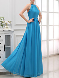 cheap -A-Line Halter Neck Floor Length Satin Bridesmaid Dress with Pleats