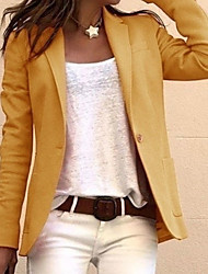 cheap -Women's Blazer, Solid Colored Notch Lapel Polyester Black / White / Yellow