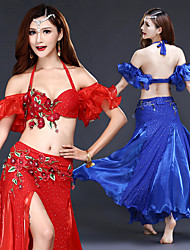 cheap -Women's Dancer Belly Dance Masquerade Halloween Polyster Fuchsia Red Blue Skirts Bra